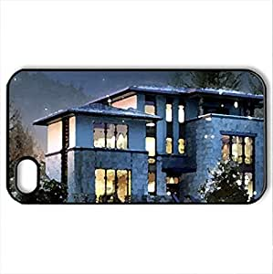Beautiful House in Winter. - Case Cover for iPhone 4 and 4s (Houses Series, Watercolor style, Black)