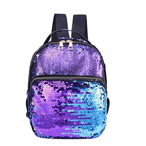 Leather Erin (PU Leather Sequins Backpack Girls Small Travel Princess Bling Backpacks Mochila Feminina)