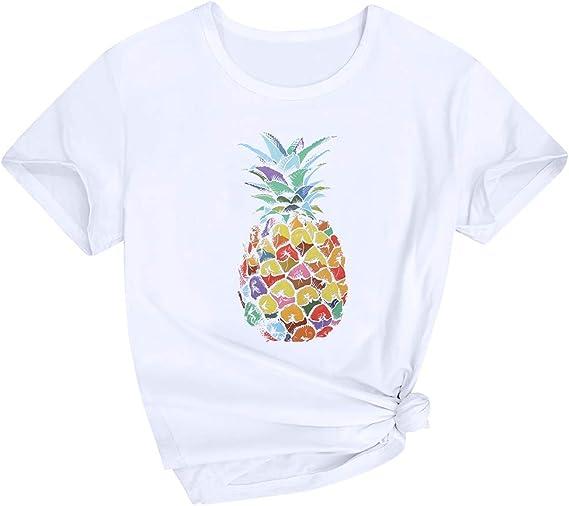 Blusa Mujer, Mujer Casual Soft Impresión Piña Camiseta Manga Corta Blusa Camiseta Basica Ropa Deportiva, Negro, Blanco: Amazon.es: Ropa y accesorios