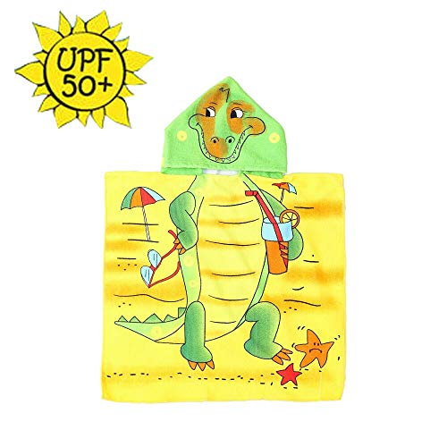 HETH Kids Hooded Beach and Bath Towel Swimsuit Coverup Swimming Poncho Towel Multi-use for Bath/Shower/Pool (Dinosaur)