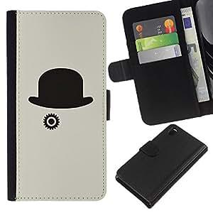 All Phone Most Case / Oferta Especial Cáscara Funda de cuero Monedero Cubierta de proteccion Caso / Wallet Case for Sony Xperia Z3 D6603 // Hat Grey Clever Minimalist Black
