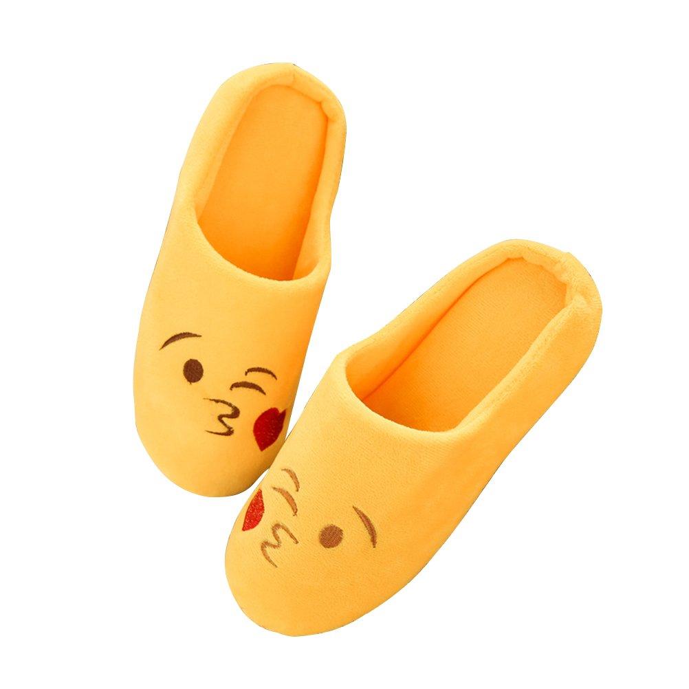 OULII Pantofole Invernali Ciabatte Calde Peluche Morbido interno antiscivolo Pantofole per Donna e Uomo Giallo