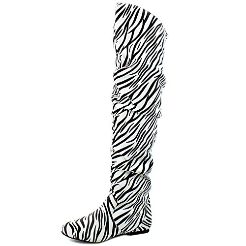 DailyShoes Damenmode-Hi Over-the-Knee Oberschenkel Hohe flache Slouchly Welle Low Heel Stiefel Klassisches Zebra Sv