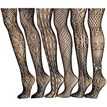 Frenchic Seamless Sexy Fishnet Lace Stocking Tights Extended Sizes (Pack of 6)