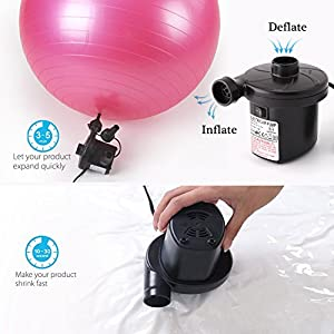 LotFancy Portable Air Pump - 12V DC Electric Air Pump for Inflatables Mattress, Inflator Deflator for Air Bed Raft Pool Toy, 3 Nozzles, Replacement for Intex Pump 68608E, 66626E, 66621E