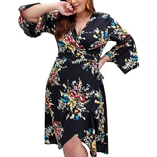 Exlura Plus Size Summer V Neck Wrap Dress Floral Print 3/4 Sleeves Midi Dress Black