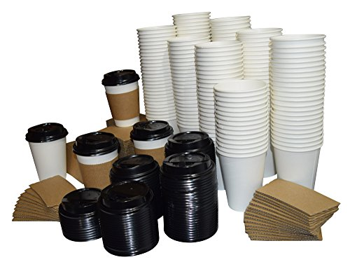 Humongous set of 100 White Paper Coffee Hot Cups, Travel Lids, AND Sleeves - 12 ounce