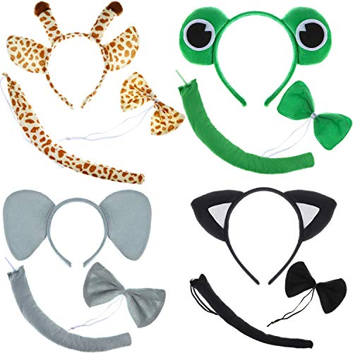 4 Sets Kids Animal Costume Funny Cat Elephants Frogs Giraffes Costume Ears Headband with Bowtie Tail Tie for Costume Party