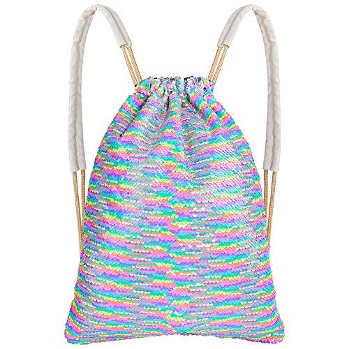- MHJY Mermaid Sequin Bag,Magic Sparkly Sequin Drawstring Backpack Glitter Sports Dance Bag Shiny Outdoor Beach Travel Backpack (Mermaid Rainbow)