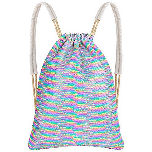 MHJY Mermaid Sequin Bag,Magic Sparkly Sequin Drawstring Backpack Glitter Sports Dance Bag Shiny Outdoor Beach Travel Backpack (Mermaid Rainbow)