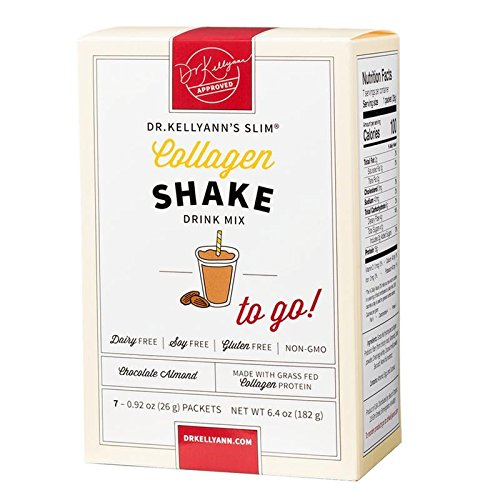 Collagen Chocolate Almond Shake: to-Go Packets (7 Servings per Box) from Bone Broth Expert Dr. Kellyann | 100% Grass-Fed Collagen – No Artificial Sweeteners – Gluten Free - Dairy Free - Soy Free