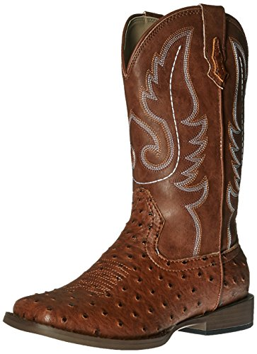 Roper Bumps Square Toe Ostrich Boot (Infant/Toddler/Little Kid/Big Kid), Tan, 2 M US Little Kid