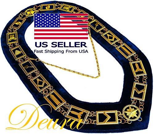 DEURA Masonic Collar Freemason Blue Lodge Master Mason Gold Plated // Blue Velvet Backing DMR-400GB