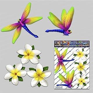 Adesivo auto libellula animale + bianco frangipani plumeria fiore - ST00064WT_SML - Adesivi JAS
