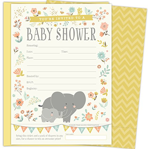 2 in 1 Elephant Baby Shower Invitations and