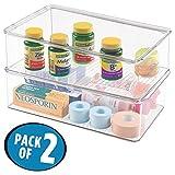 mDesign Storage Box Organizer for Vitamins, Supplements, Health Supplies - Set of 2, Medium, Clear