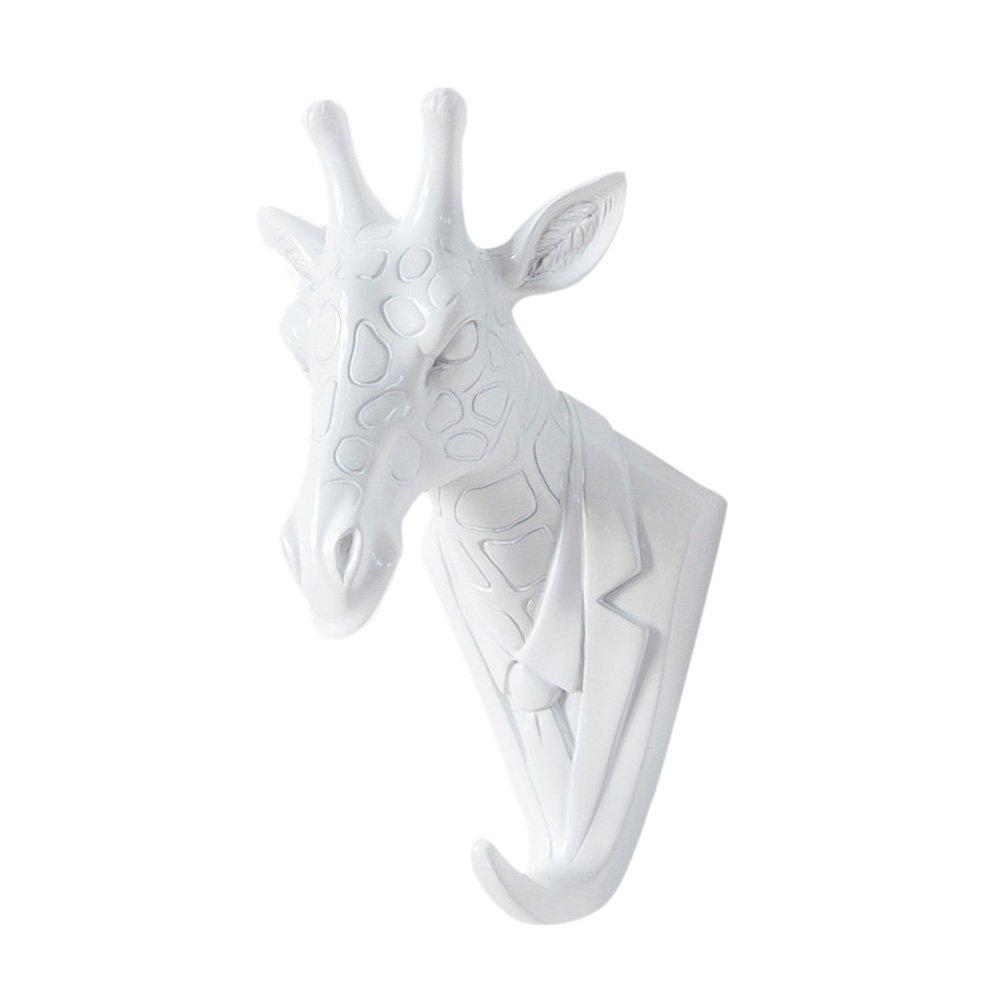 Zhi Jin 1Pc Novelty White Animals Head Hook Wall Adhesive Door Hanger Decor for Clothes Hat Mr.Giraffe