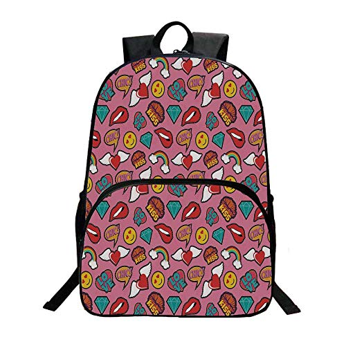 Stitch Accent Pillow - Emoji Fashionable Backpack,Dotted Hearts Background with Rainbow Love Woman Lips Pop Art Style Stitch Pattern Decorative for Boys,11.8
