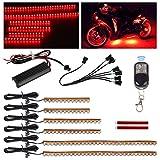 Partsam 6pcs Red Led Strip Light Bar w Remote Controller Motorbike Illumination Front Rear