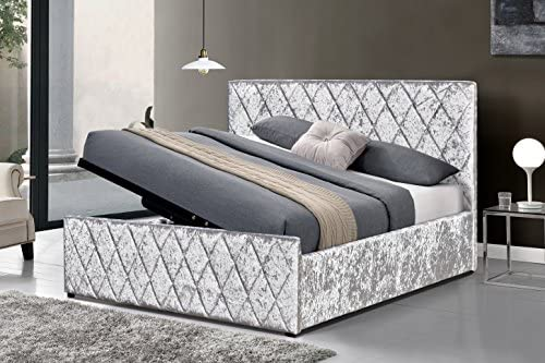 Cherry Tree Furniture Hayden Crushed Velvet Side Lift Storage Ottoman Bed Frame Silver 4ft6 Double Amazon Co Uk Kitchen Home