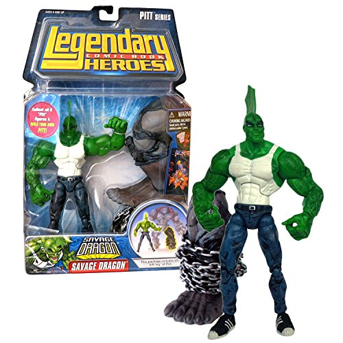 (Legendary Heroes Marvel Toys Year 2007 Comic Book Pitt Series 7 Inch Tall Figure - Variant White Tops SAVAGE DRAGON with Pitt's Left Leg)
