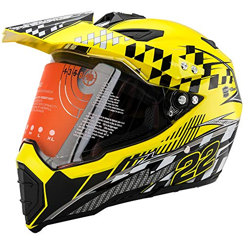 Motorcycle Modular Full Face Helmet Off-Road Dirt Bike Motorcycle Flip up Dual Visor Sun Shield Yellow XL by MotorFansClub (Rockstar Dirt Bike Helmets)