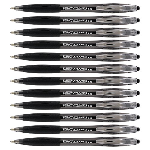 Bic Atlantis Ball Pen (BIC Atlantis Retractable Ball Point Pen, 1.6mm, Bold Point, Black Ink (12-Count))