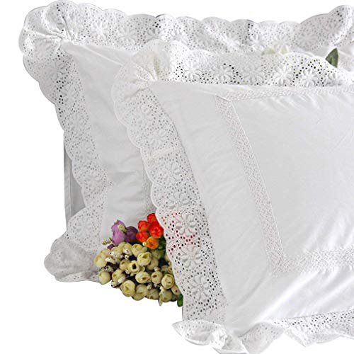 Standard Pillowcase Lace (Queen's House Shabby Lace White Shams Standard Set of 2-P)