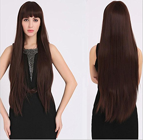 2017 Trendy Looks Very Natural Long Straight Remy Hair Wigs with Neat Bangs +a Free Wig Cap , picture (80s Look For Guys)