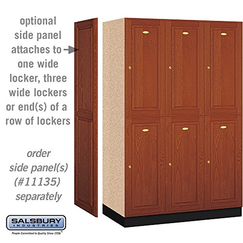 Salsbury Industries 2-Tier Solid Oak Executive Wood Locker with Three Wide Storage Units, 6-Feet High by 21-Inch Deep, Medium Oak by Salsbury Industries (Image #2)
