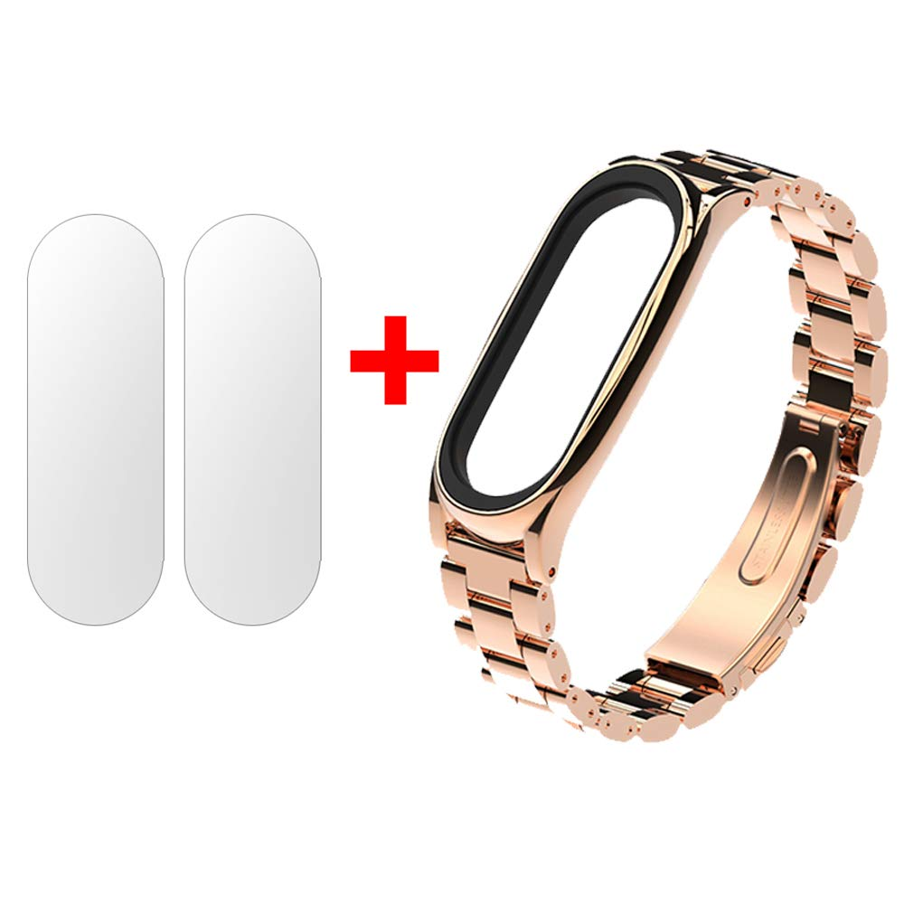 Mijobs Metal Strap For Xiaomi Mi Band 3 Straps Screwless 2 Oled Stainless Steel Silver Plis Bracelet Wristband Replace Accessories Black Cell