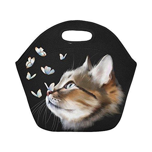 InterestPrint Insulated Lunch Tote Bag Cute Cat Butterflies Reusable Neoprene Cooler, Funny Kitty Animal Portable Lunchbox Handbag for Men Women Adult Kids Boys Girls
