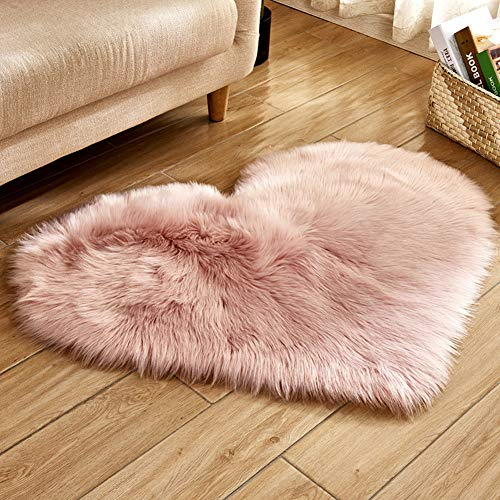 PinShang Soft Artificial Plush Heart Shape Rug Chair Cover Warm Hairy Carpet Seat Pad Modern Style Home Decoration Pink 30X40cm