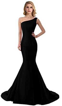 DLFASHION Womens One-Shoulder Mermaid Satin Evening Prom Dress Size 4 Black