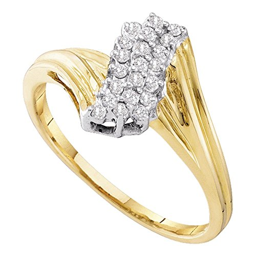 10k Yellow Gold Diamond Fashion Ring Cocktail Band Cluster Style Round Prong Set Polished 1/6 ctw Size (Diamond Cluster Cocktail Ring)