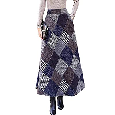 Autumn Winter Long Skirts High Waist Warm Wool Plaid Skirt