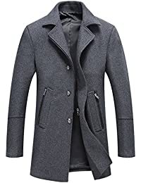 Men's Classic Notched Collar Button-Zipper Front Wool Blend Midi Pea Coats