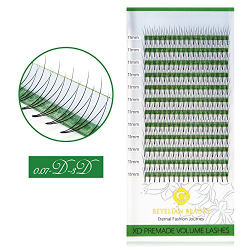 BEYELIAN Premade 3D D Curl 0.07 Thickness 11mm Eyelash Extensions Volume Fans Lashes Pre-Fanned Individual Eyelash Extension Express Lash Extensions (0.07mm 11mm D Curl 216 pcs)