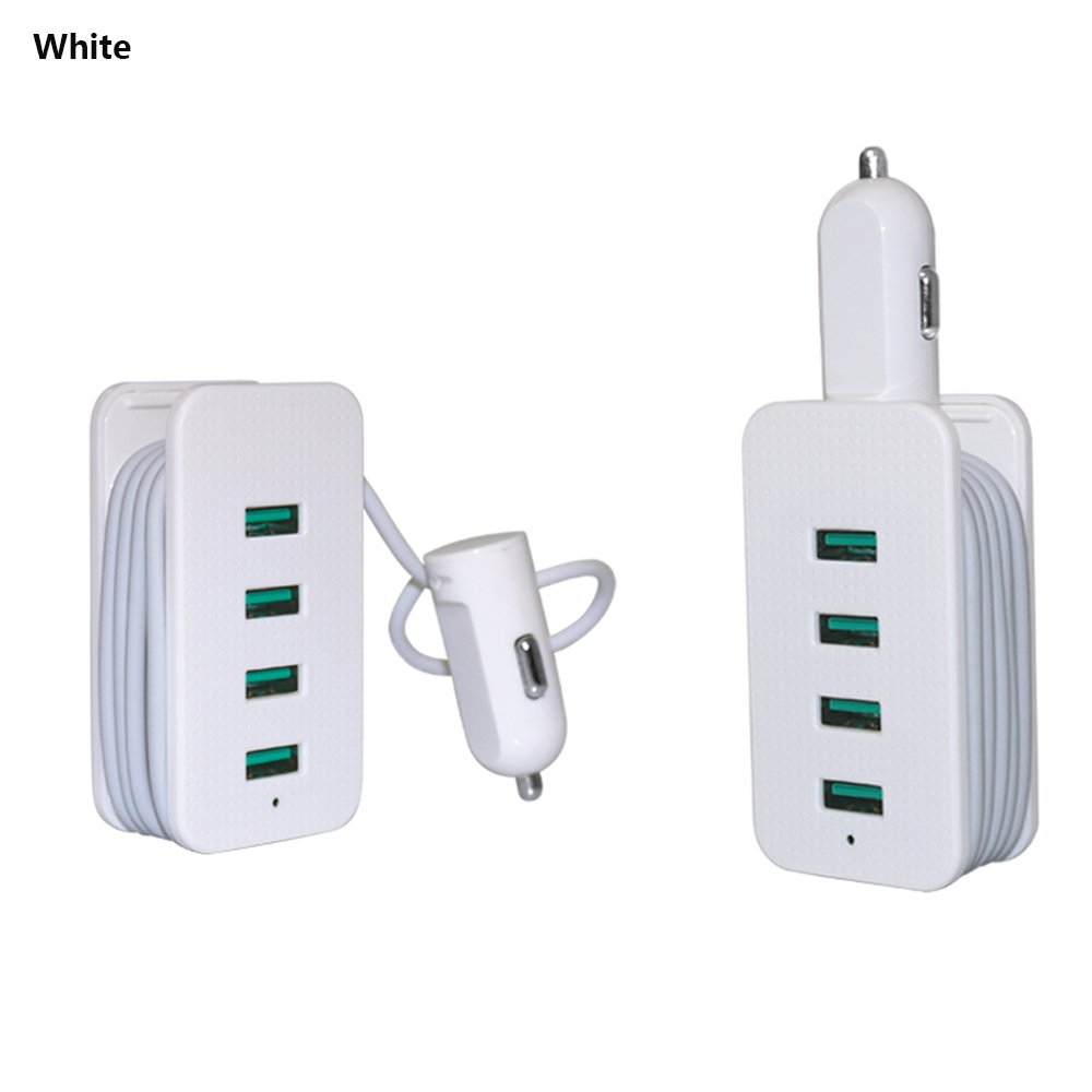 Multifunction 4.8A/24W 4 USB Smart Port Car Charger With 1M Charging Cable Compatible to Your Loved Cell Phones, GPS, MP3 Players,Ipad and Other Electronics Devicese (white)