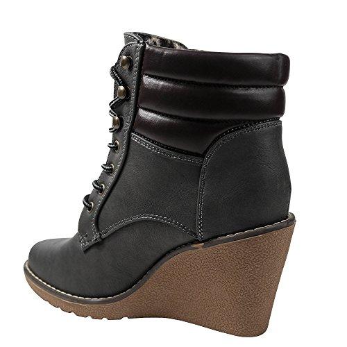 Schuhtraum Damen Stiefel Stiefeletten Keilabsatz Wedge Boots High Heels ST505
