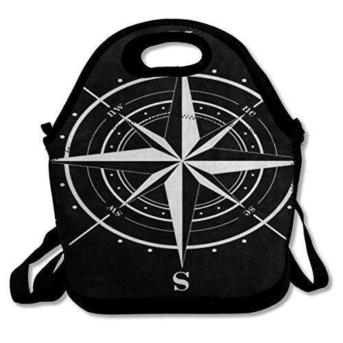 Lunch Bag Tote Bag Compass Rose Black ArtworkTravel Picnic Organizer Lunch Holder Handbags Lunch Bag Box for Work School