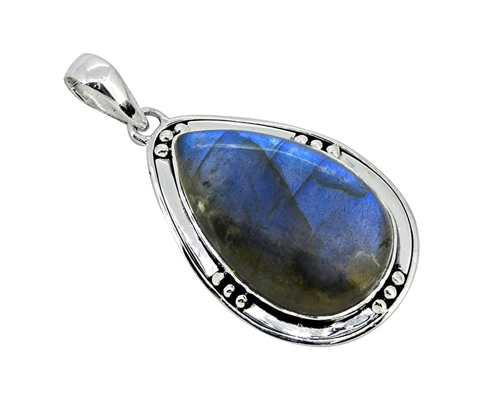 YoTreasure Labradorite Long Chain Pendant 925 Sterling Silver Jewelry 2