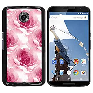 Be Good Phone Accessory // Dura Cáscara cubierta Protectora Caso Carcasa Funda de Protección para Motorola NEXUS 6 / X / Moto X Pro // Watercolor Roses Flower Petals Floral White