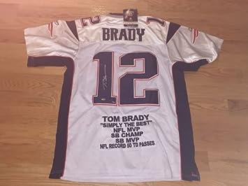 wholesale dealer 90401 a35cc Tom Brady Autographed Signed White Authentic Reebok Patriots ...