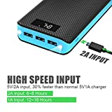 Power Bank, X-DRAGON 20000mAh Portable Charger 3-Port USB Output External Battery Charger Pack with LCD display for Phone 8 X 7 6 6s , Samsung, Cell Phones, Tablet, ipad and More-Blue