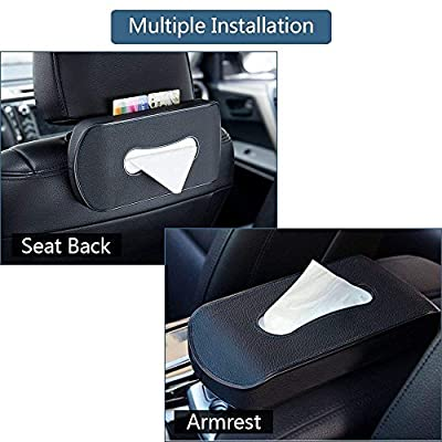Mr.Ho Black Leather Car Back Seat Headrest Hanging Tissue Holder Case Mount, Multi-use Car Tissue Paper Holder with One Tissue Refill for Car & Truck Decoration: Automotive