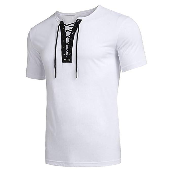 Bestow Correa de Personalidad de Tendencia de Moda para Hombre Camiseta de Manga Corta Blusa Color