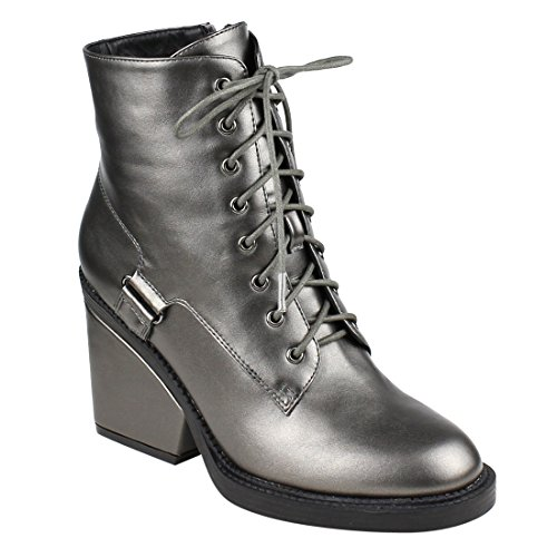 Wrapped FM43 Women's Booties Combat High Ankle Heel Block Pewter Top BESTON aqCXHq