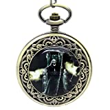 E-future Bronze Unisex Alloy Quartz Pocket Watch Skull Head Grim Reaper Image