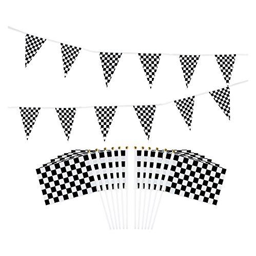 Checkered Flag and Pennant Banner Flag - 12 Racing Flags on